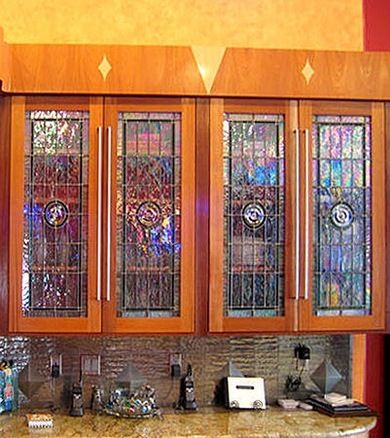 10 Stained Glass Windows We Love Stained Glass Cabinets Glass Cabinet Doors Custom Stained Glass