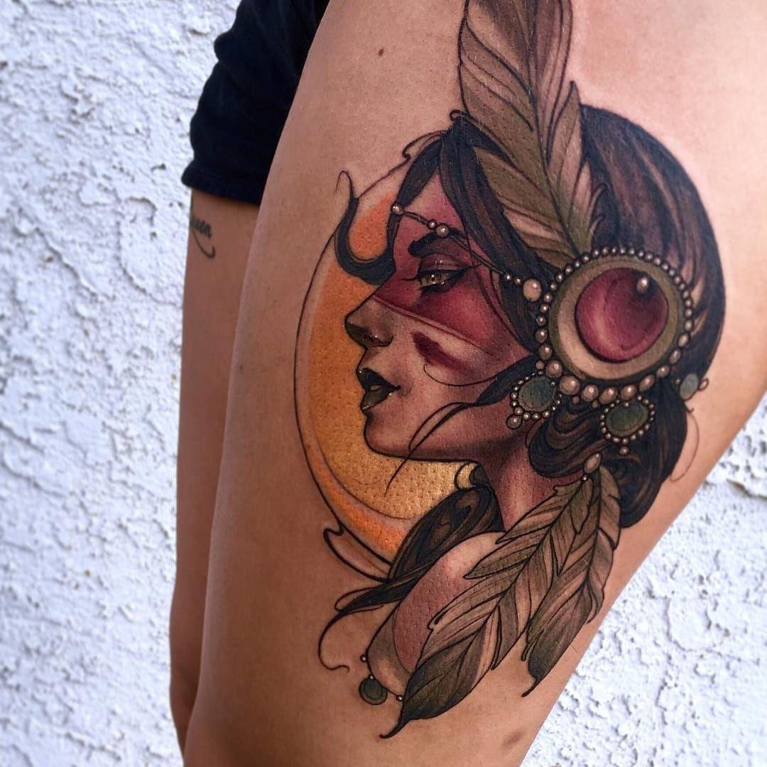 Warrior Woman Tattoo By Matt Tischler Matttischler Color Neotraditional Ladyhead Traditional Tattoo Woman Neo Traditional Tattoo Traditional Tattoo Design