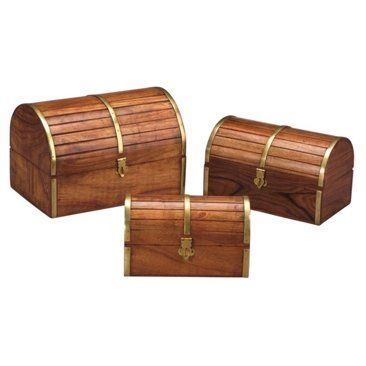 Check out this item at One Kings Lane! Barrel Top Wooden Boxes, Asst. of 3