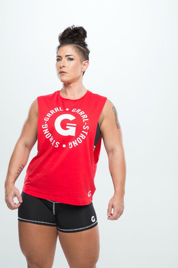 4a59eb07 GRRRL strong back Strong Back, Roller Derby Clothes, Muscle Tees, Female  Fitness,