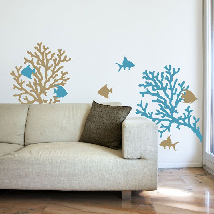 Coral Reef Fish Wall Decals Graphic Stickers Kids Bathroom