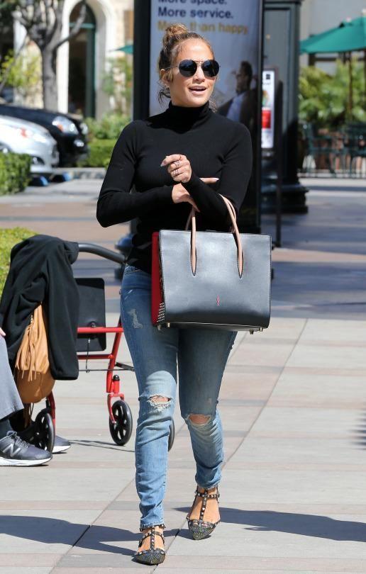 14ecdbed73a Jennifer Lopez wearing Christian Louboutin Paloma Large Tote Bag ...