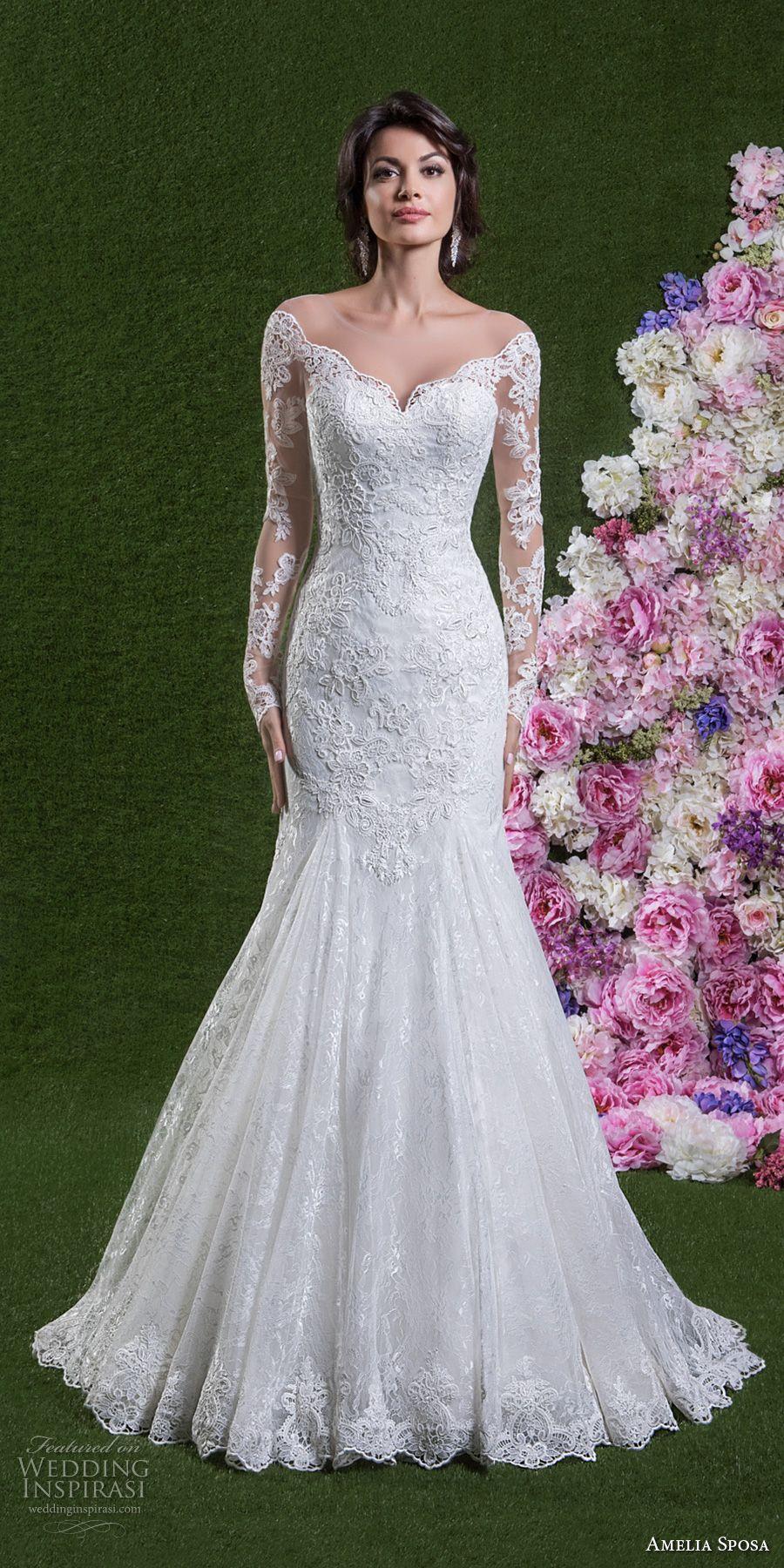 9d39e0ae40 amelia sposa 2018 bridal long sleeves off the shoulder sweetheart neckline  full embellishment elegant mermaid wedding dress sheer button back chapel  train ...