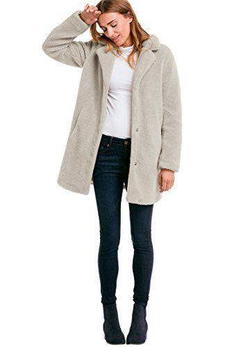 b88d9e6d4c4 Ellos Women s Plus Size Teddy Faux Fur Coat Stone