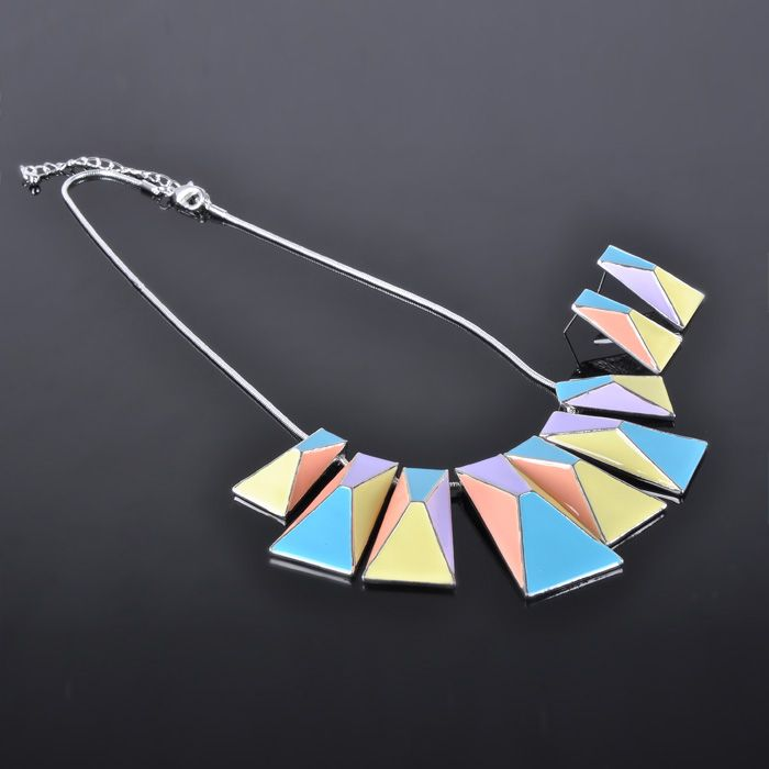 New Arrival Enamel Silver Necklace Set Wholesale Costume Jewelry