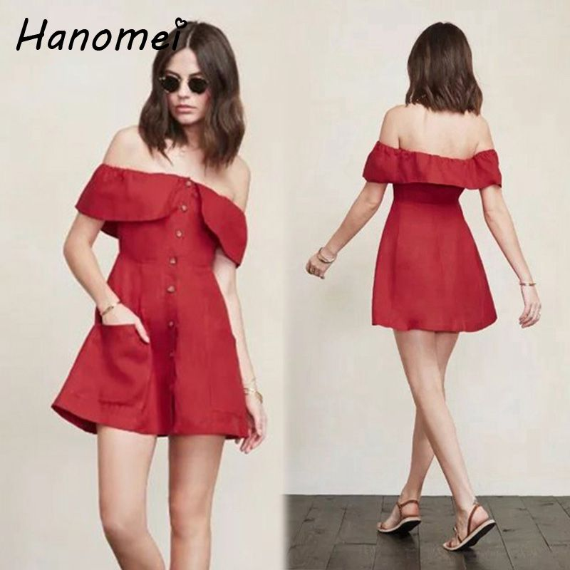 Sexy Off Shoulder Summer Dress Women Red Mini Vestidos Mujer 2017 Casual  Ruffled Ladies Dresses Elegant Short Robe Femme C111 a66616ff6b9c