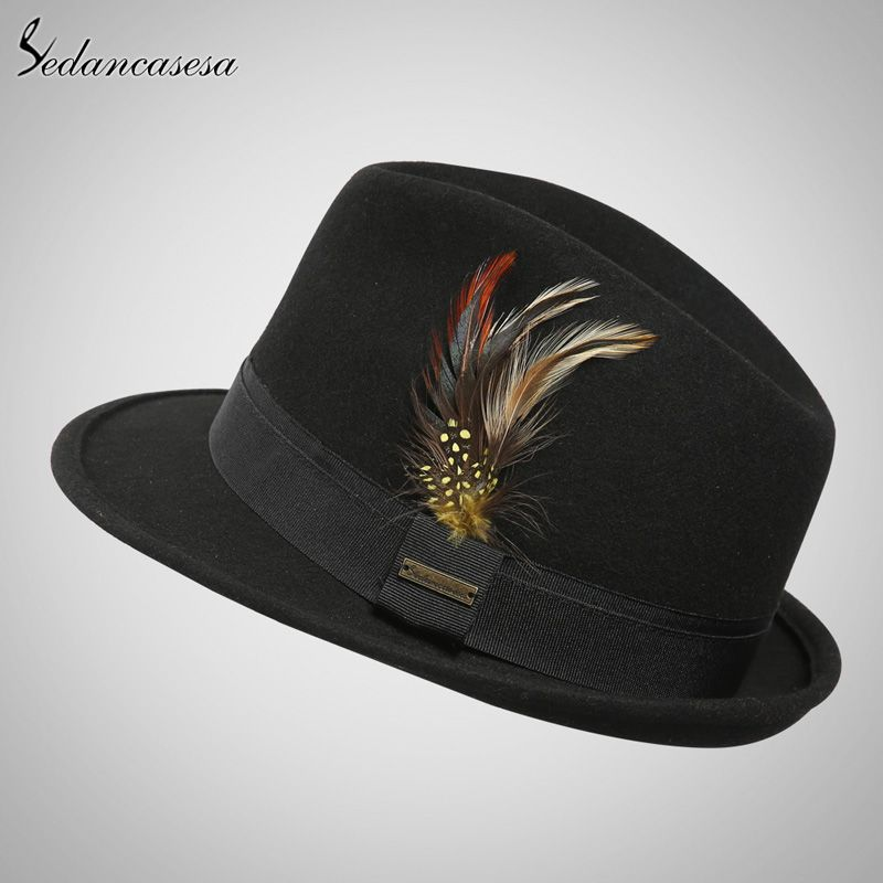 Fashion Men Winter Black Feather Felt Hat Wide Brim Fedora Top Hat Dance  Cap Blower Jazz Panama Hat Like and Share if you agree! 297dabaa6d36