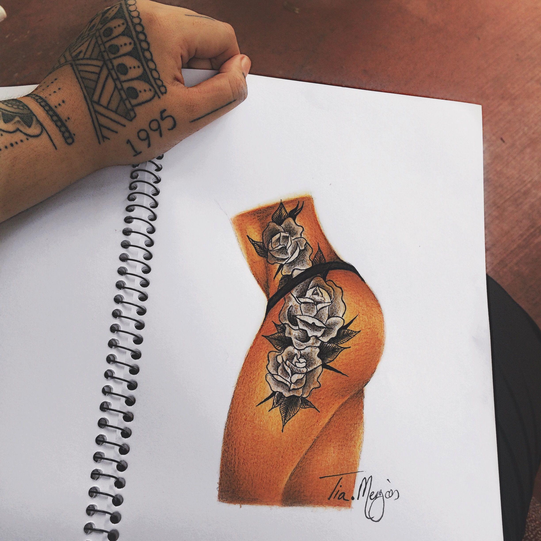 Pencil illustration with a felt tip pen tattoo design