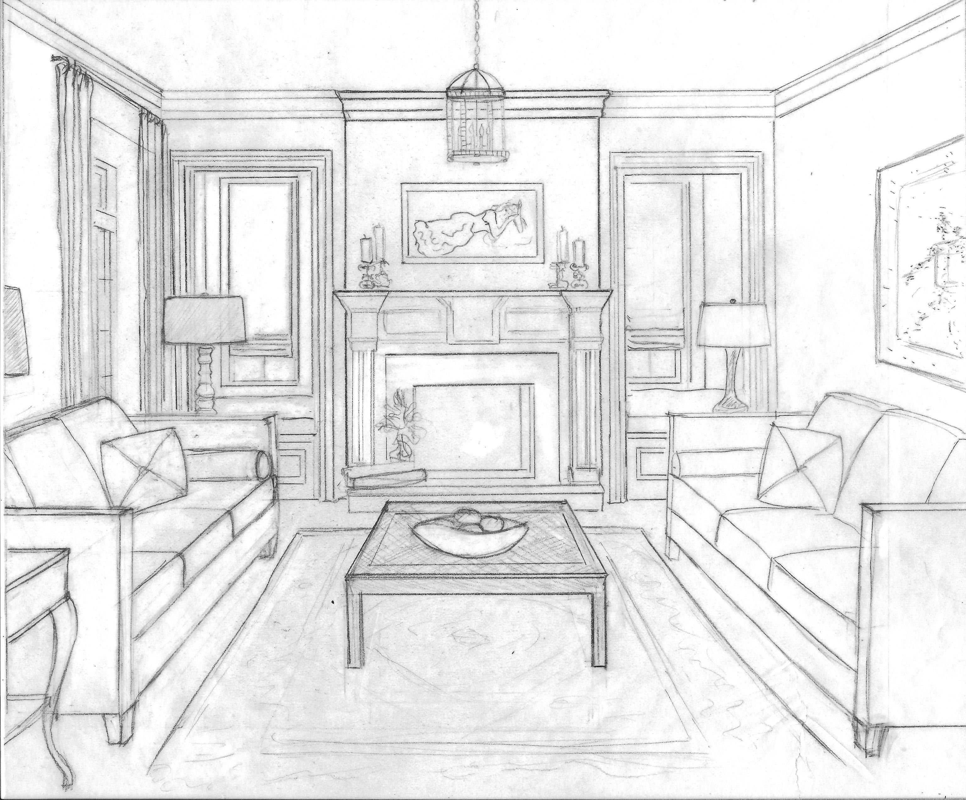 Concept drawing waterlily interiors perspective room - One point perspective drawing living room ...