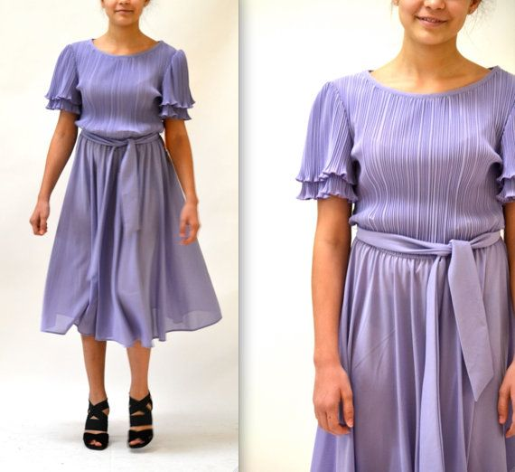 80s Shimmery Perple Peplum Dress with Button Down Front