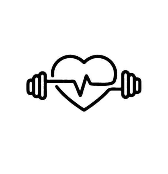 Barbell Heartbeat Decal W Heart Fitness Tattoos Gym