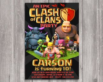 Clash of Clans Invitation for Birthday Party DIY Print Your Own
