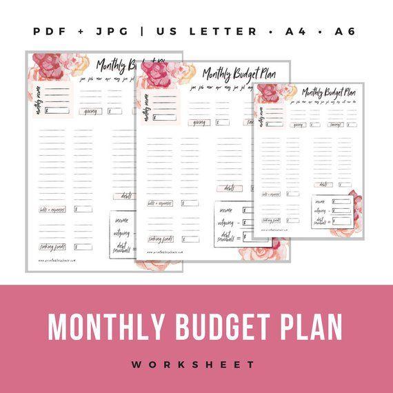 printable floral monthly budget worksheet