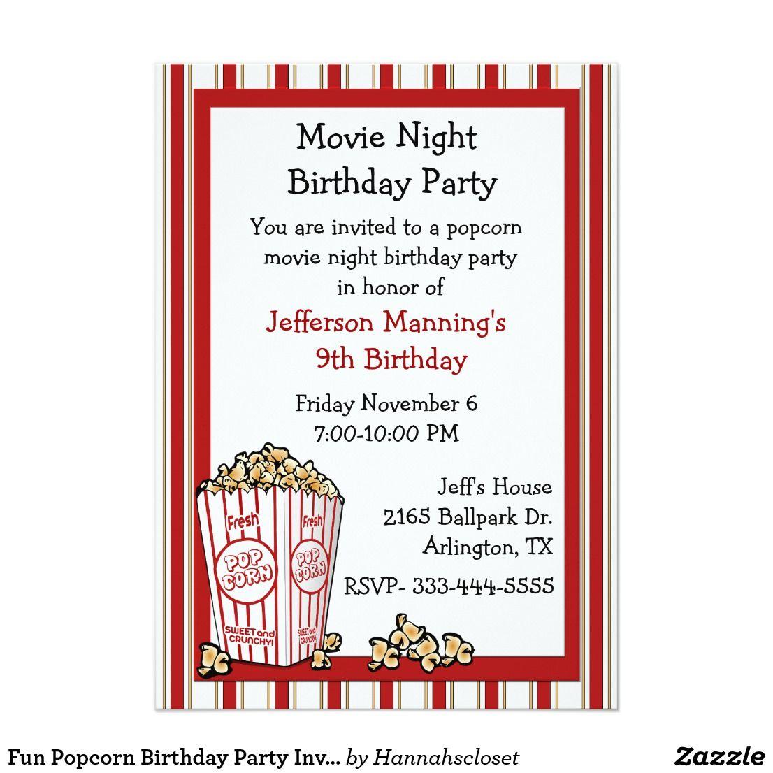 Fun Popcorn Birthday Party Invitation | Take me to the drive-in ...