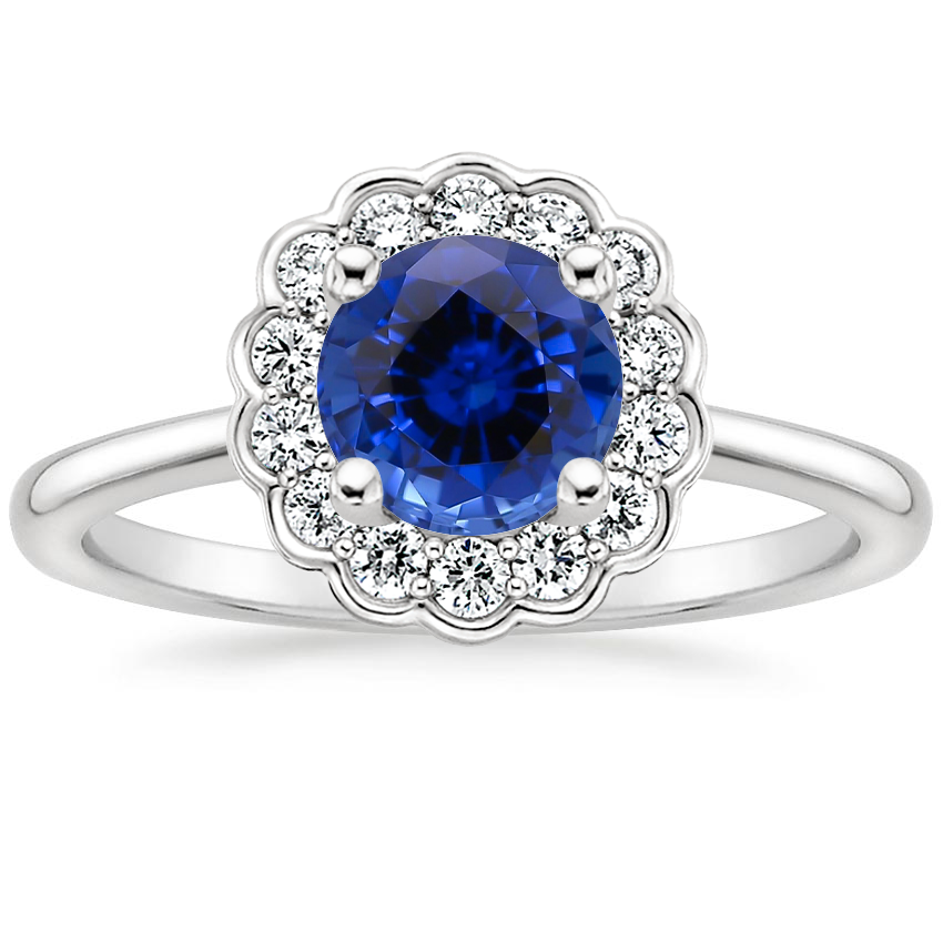 Violette Sapphire Engagement Ring 18K White Gold