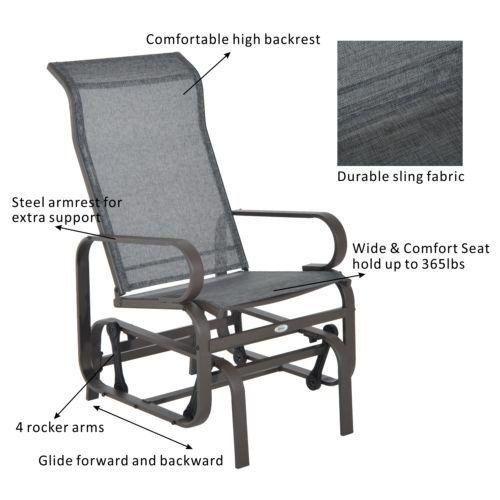 Fantastic Outsunny Metal Mesh Fabric Single Outdoor Patio Glider Spiritservingveterans Wood Chair Design Ideas Spiritservingveteransorg