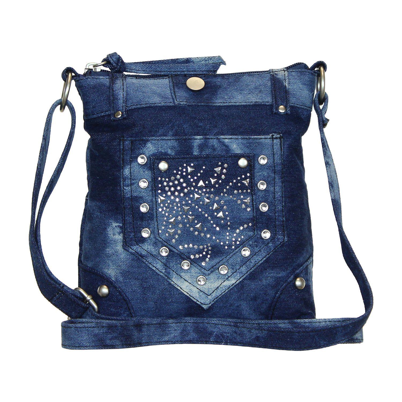 Dye Studded Blue Purse Crossbody Handbags Denim Tie OZqxSAq7