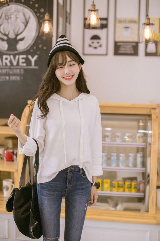 7651e344cf3 Korean Fashion - Single color hoodie Free worldwide 4-6 business ...