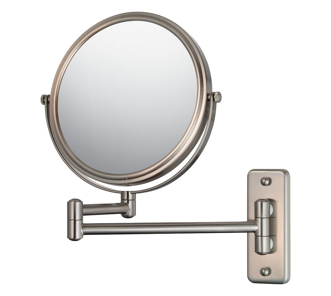 """Brushed Nickel Wall Mirror mirror image double arm wall mirror 7.75"""" brushed nickel 