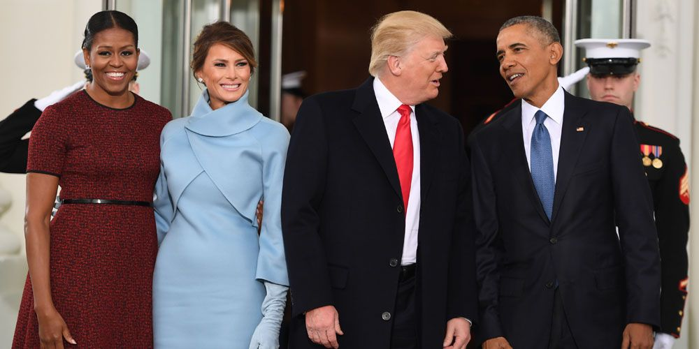 Michelle obama wears red jason wu dress for the inauguration obama the obamas arrived to greet the trumps for a peaceful transition of power m4hsunfo