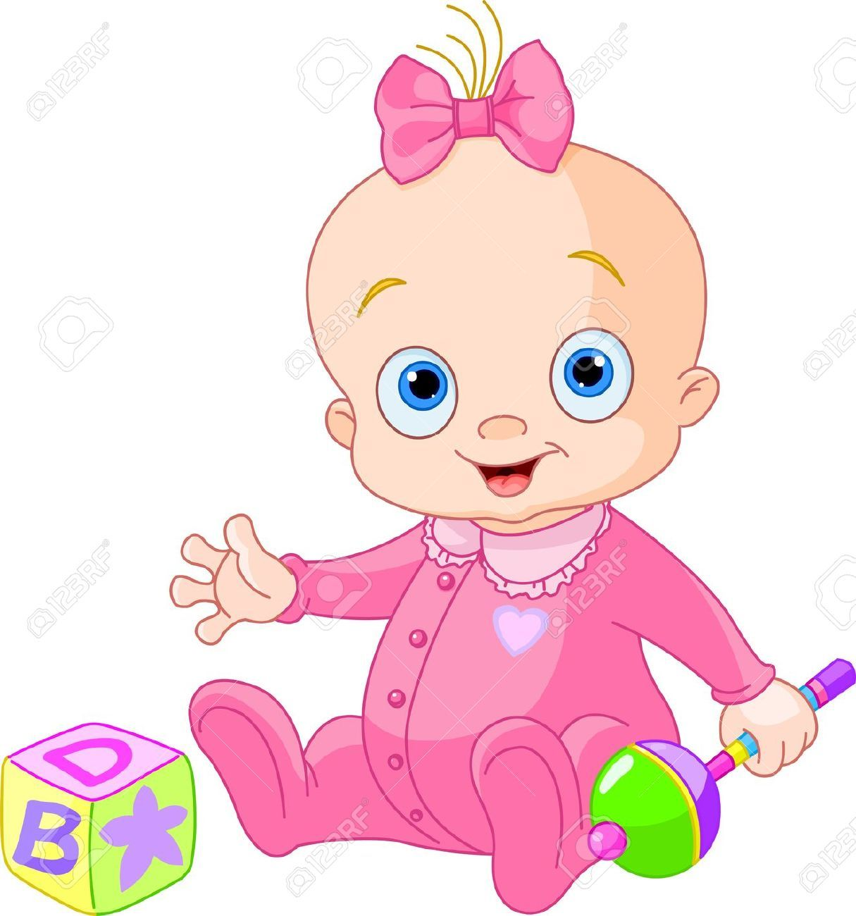 Baby Girl Playing With Rattle Baby Clip Art Baby Girl Clipart Baby Shower Clipart