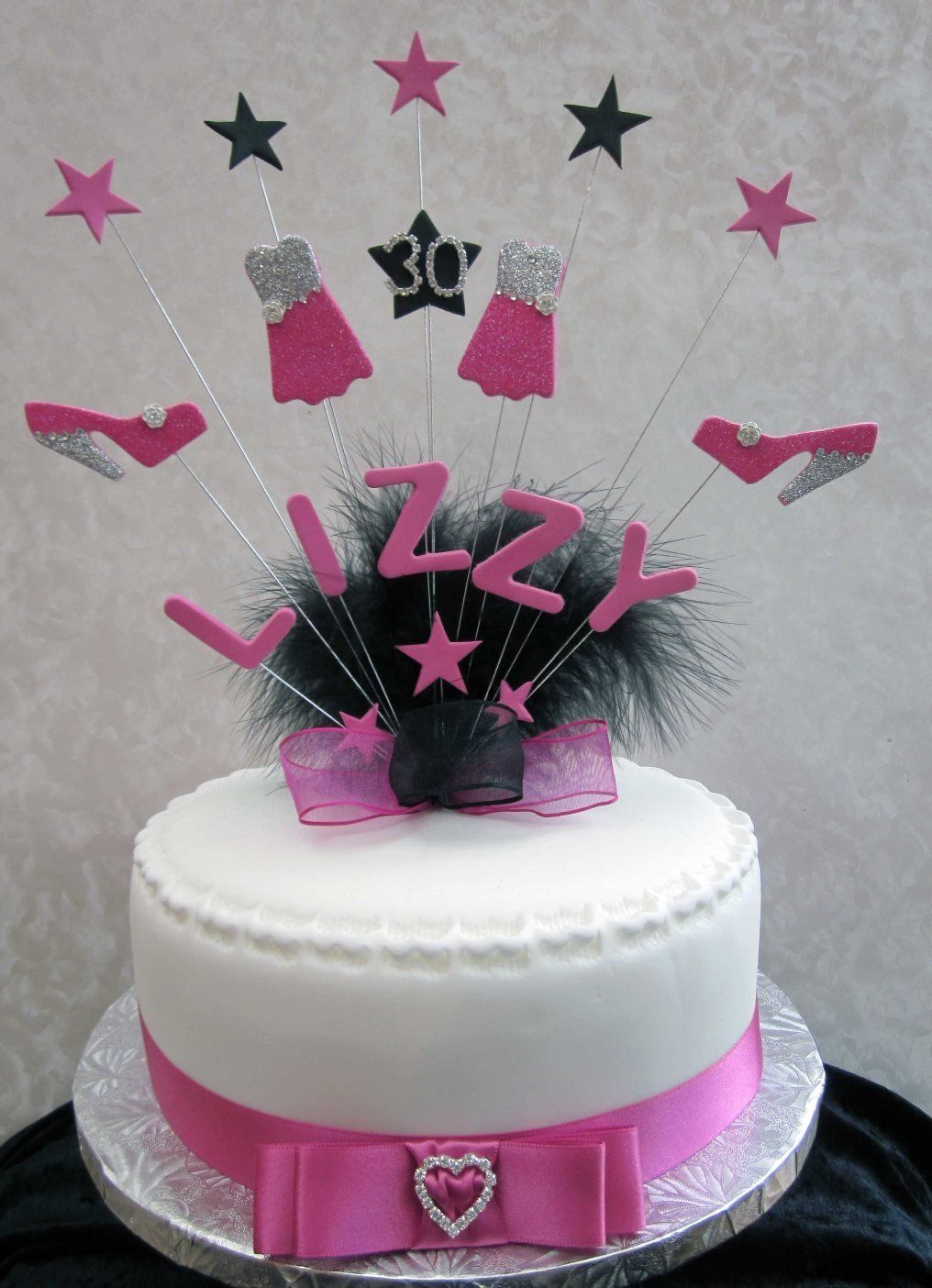 Awesome Personalised Shoe And Dress Birthday Cake Topper Hot Pink Black Funny Birthday Cards Online Barepcheapnameinfo