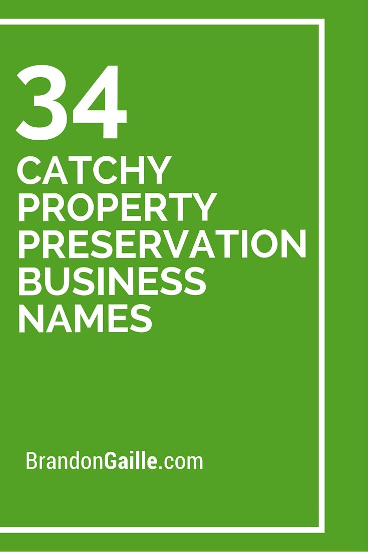 34 Catchy Property Preservation Business Names