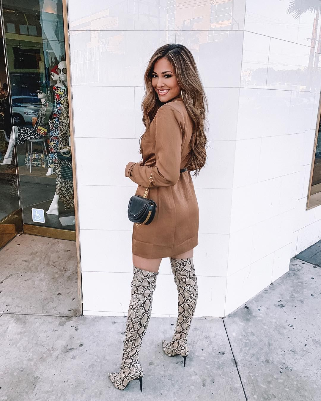 """Lina Noory on Instagram: """"Who's ready for 5 ways to #style these snakeskin thigh-high boots!? Video will be posted shortly! • #ootd #outfit #outfitinspo"""""""