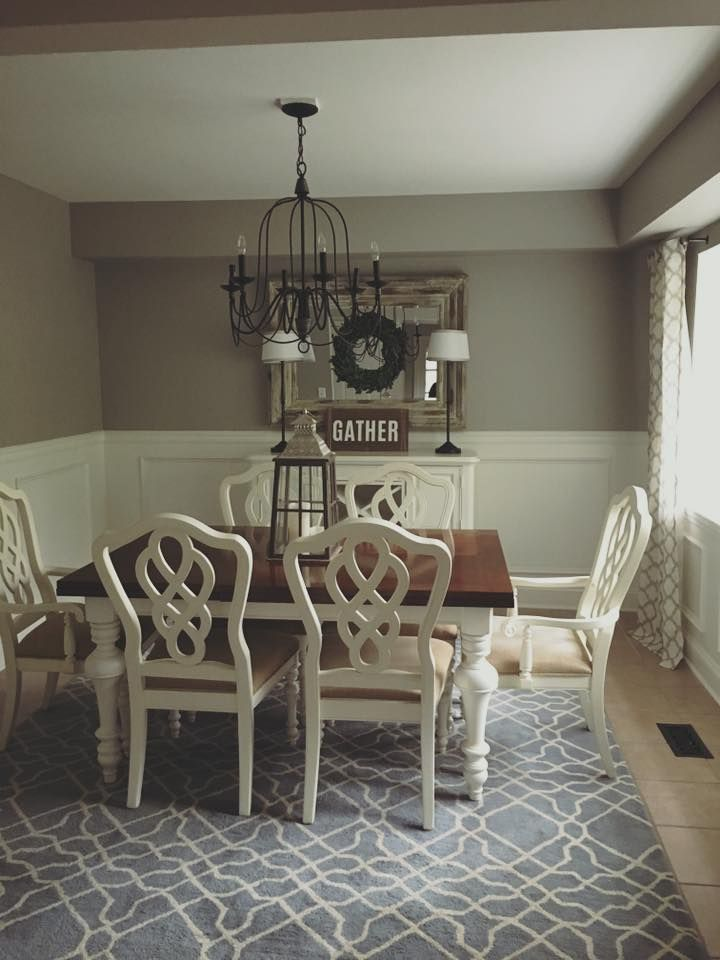 Sherwin Williams Requisite Gray Farmhouse Dining Room