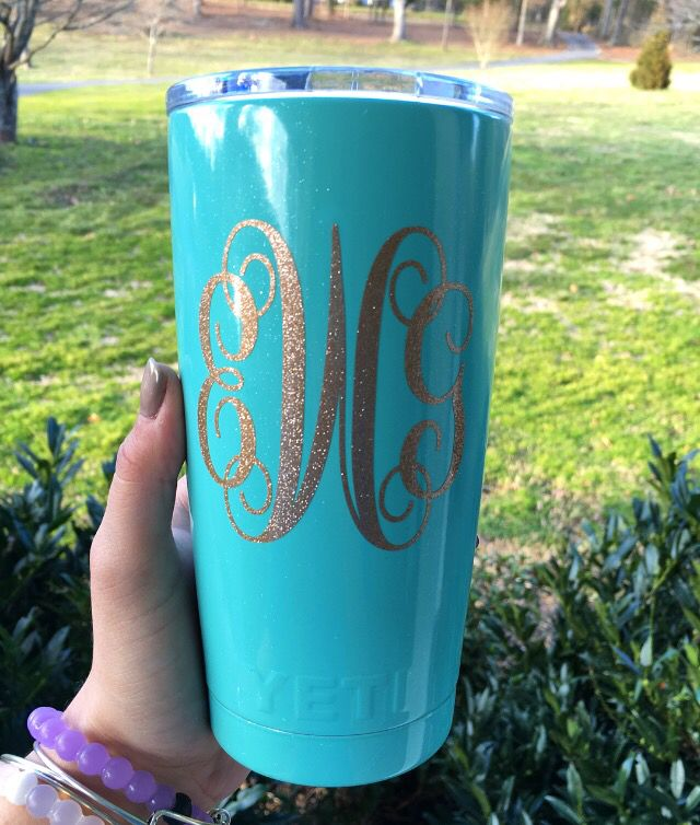 20 Oz Mint Colored Yeti Cup With Gold Glitter Monogram