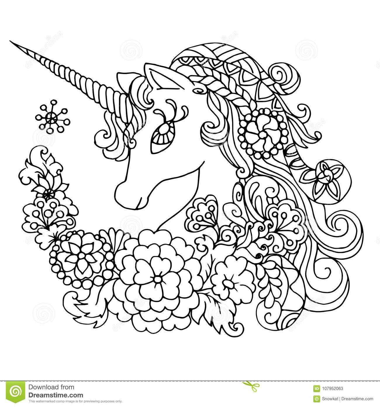 Licorne Blanche Fabuleuse De Livre De Coloriage Illustration A