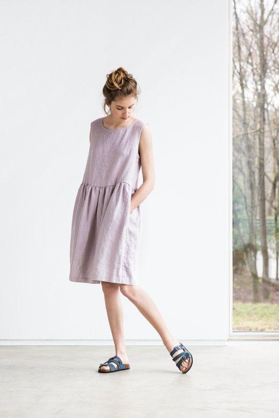 1a94f587fe6 Smock linen dress   Loose linen sleeveless summer dress in   Washed ...