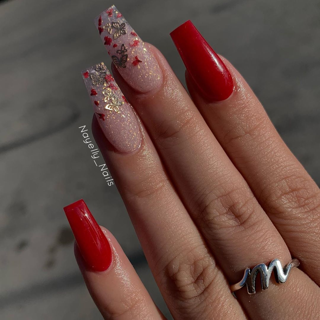 Red Times Butterflies And Rose Petals Using Glamandglits Love Letters And Hidden Pleasure By Red Nails Glitter Quinceanera Nails Red Acrylic Nails