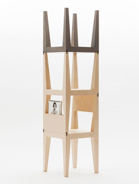 Plywood Oneness Collection Of Tables And Chairs That Clip Together To Form An Assortment Of Shelving Units Stackable Furniture Modular Furniture Furniture