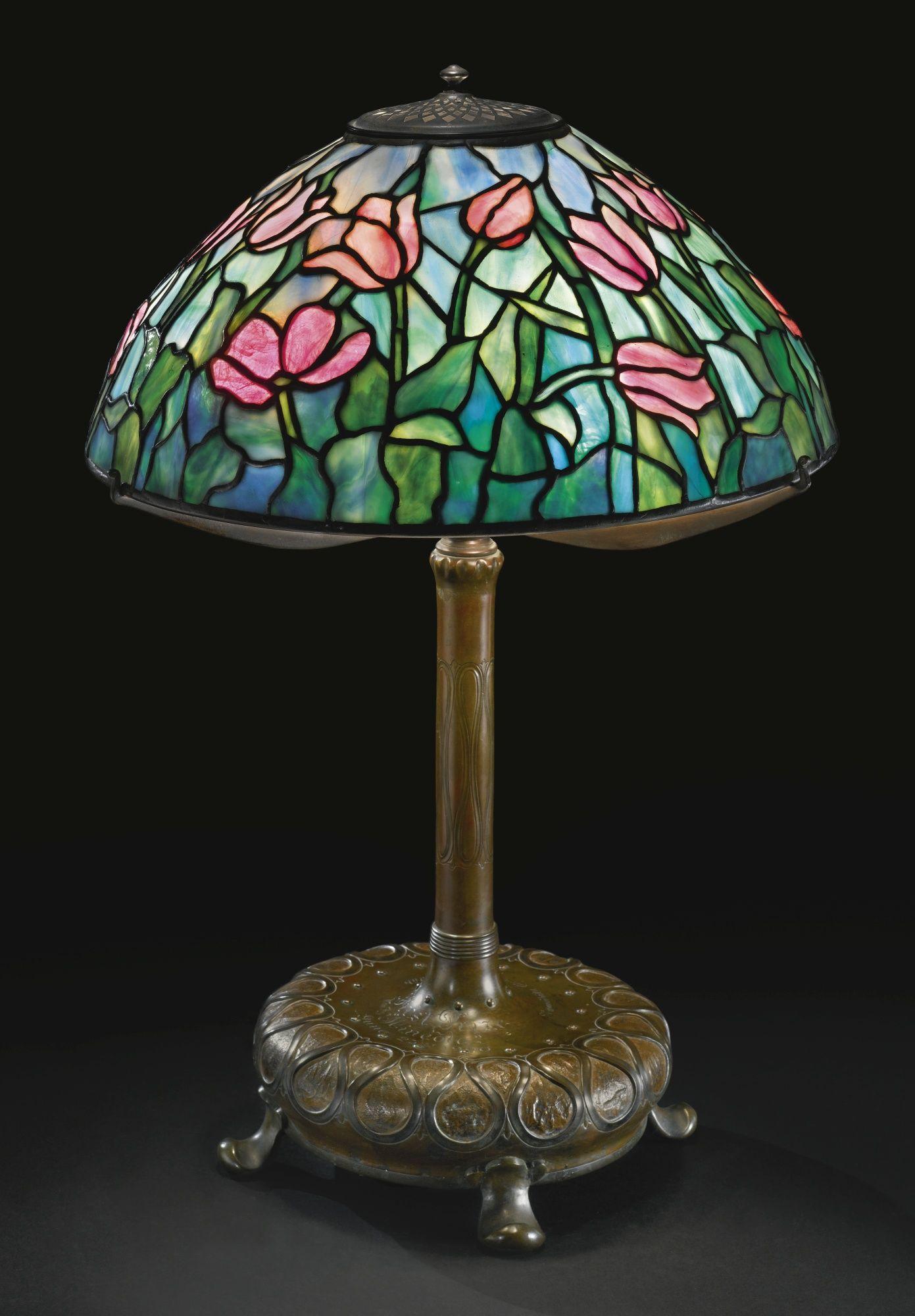 Tiffany Studios Tulip Table Lamp Shade Impressed Tiffany Studios