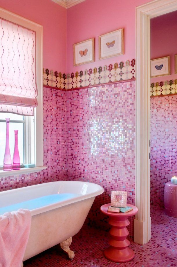 Candy Colored Blooms Shower Curtain with hot pink bath rug ...