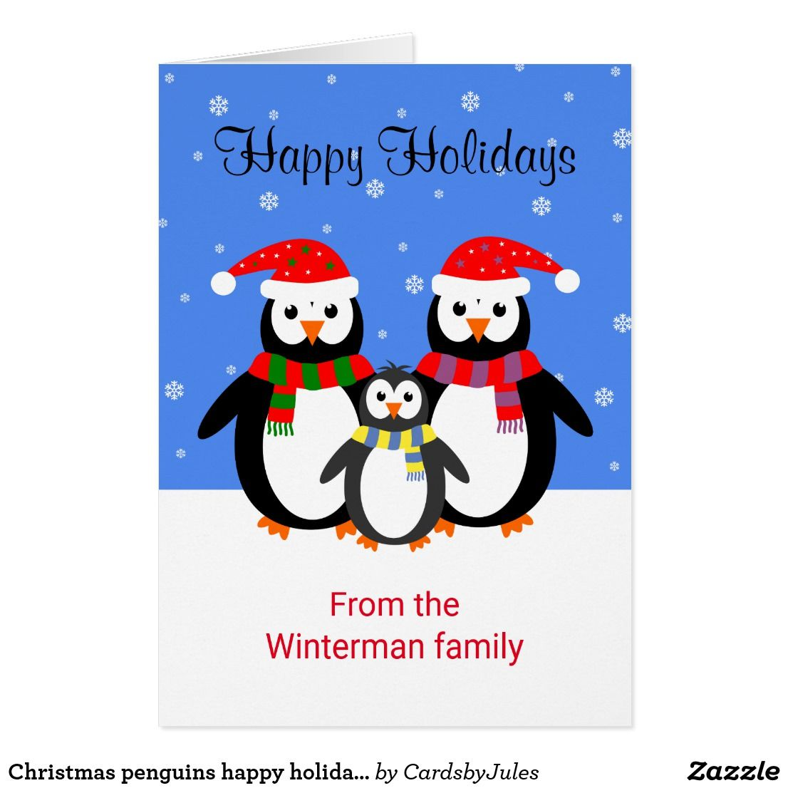Christmas Penguins Happy Holidays Editable Text Card