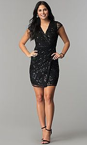 Photo of Short Sequin Mock-Wrap Wedding-Guest Party Dress