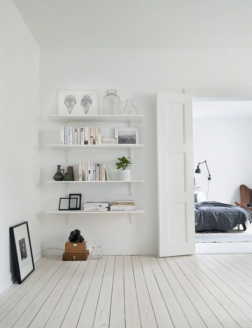 Scandinavian Interior With Light Wood Floors And White Walls Open Shelving Top 10 Tips For Adding Scandinavian Style To Home White Rooms Minimalism Interior