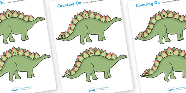 twinkl resources counting on worksheets dinosaurs classroom printables for pre school. Black Bedroom Furniture Sets. Home Design Ideas