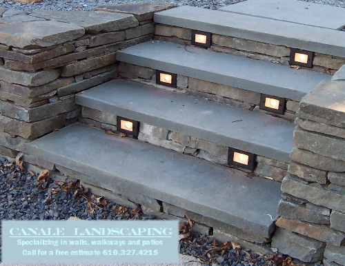 Dry Stacked Retaining Wall And Steps With Lighting Front Porch Steps Patio Steps Outdoor Remodel