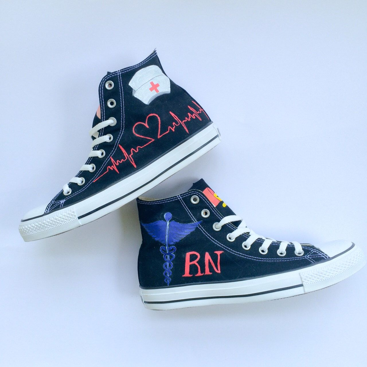 960dce452dbee9 Custom Hand Painted Nurse or Doctor Converse by IntellexualDesign on Etsy  https   www