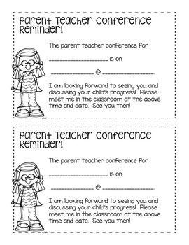 Freebie Conferences Reminders Conference Reminder Parents As