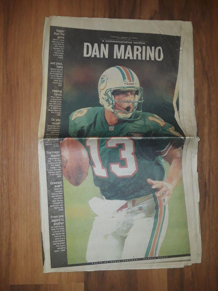 602570baf7de 2000 Dan Marino Retirement Miami Herald Newspaper Miami Dolphins Special  Edition (eBay Link)