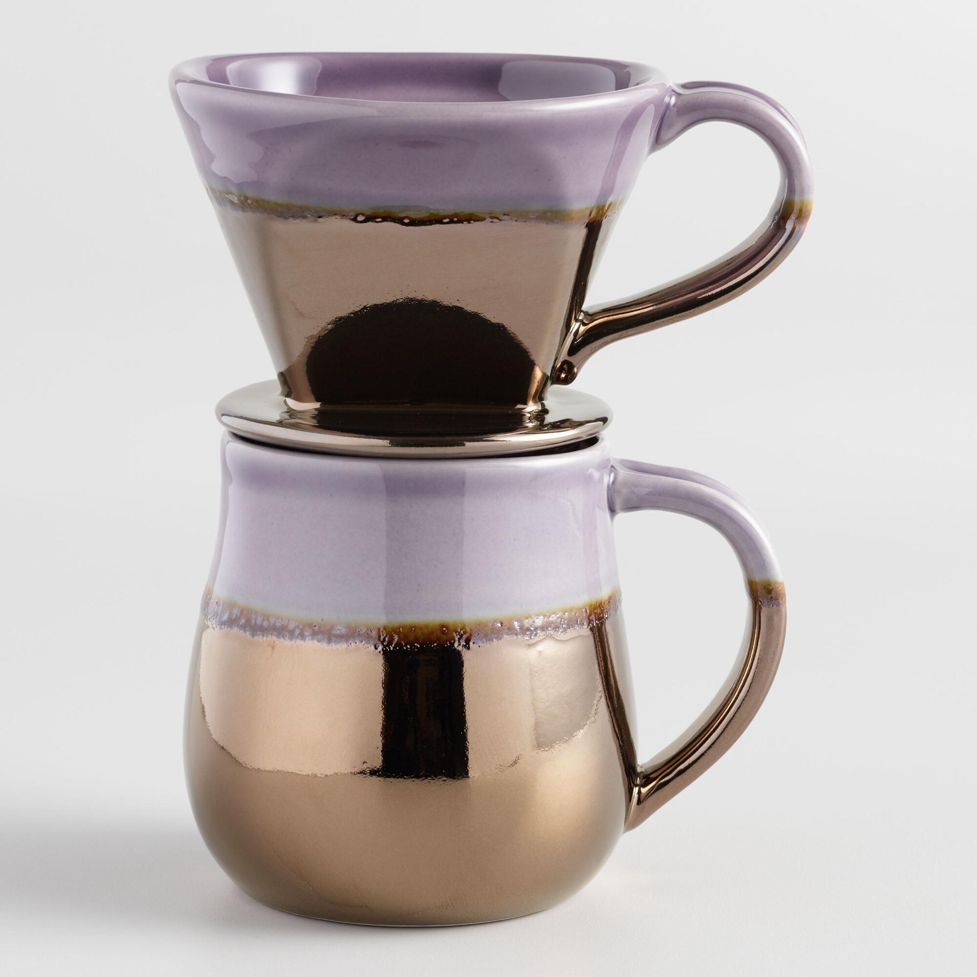 Metallic Ceramic Pour Over Coffee Mug Set By World Market