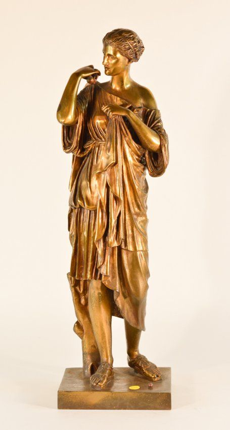 French Gilt Bronze Statue of Greek Goddess Diana .