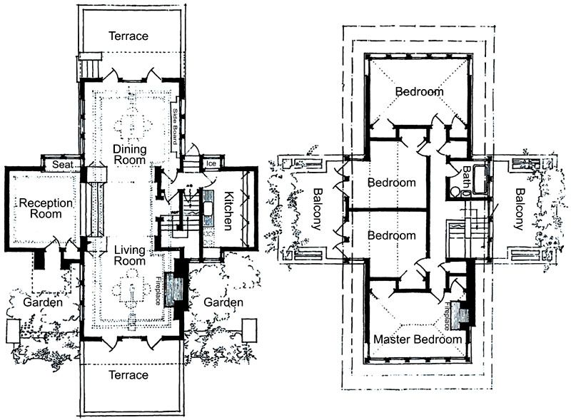 Historic row house floor plans google search for Frank lloyd wright style house plans