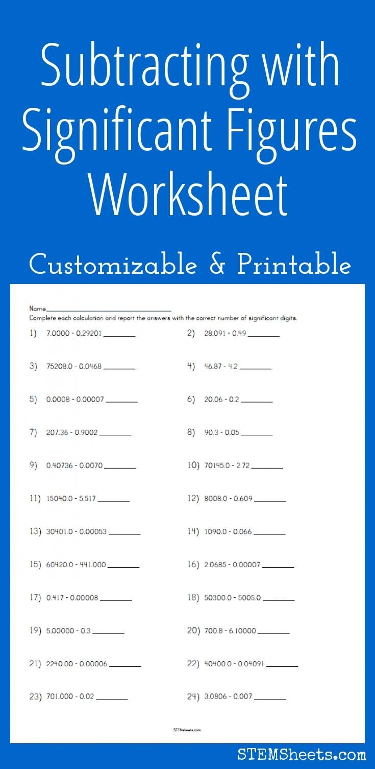 Subtracting with Significant Figures Worksheet - Customizable and Printable