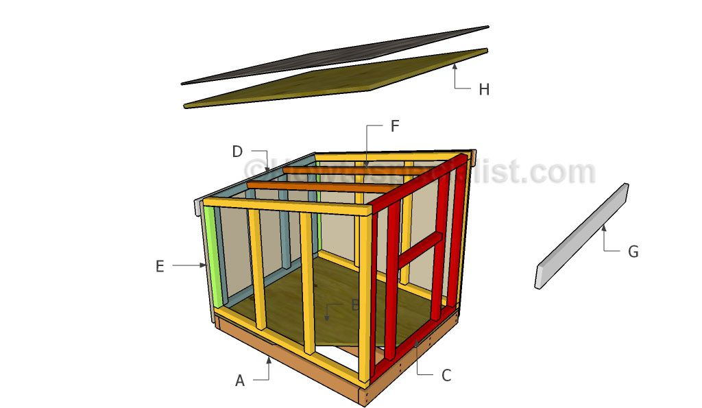 Free Sloped Roof Dog House Plans