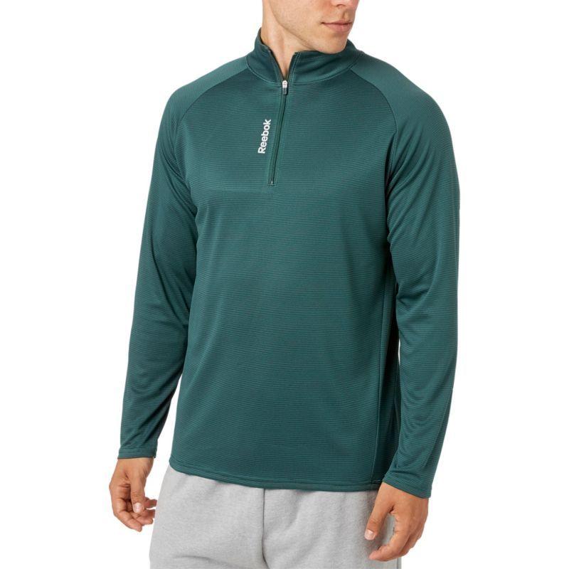 Reebok Men's Stripe Performance 1/4 Zip Long Sleeve Shirt, Size: Medium, Drk Fst/Wshd Jd Dd Stripe